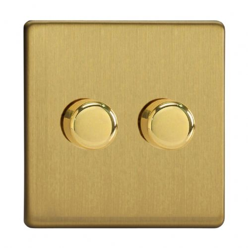 Varilight JDBP252S Screwless Brushed Brass 2 Gang 2-Way Push-On/Off LED Dimmer 0-120W V-Pro